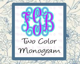 Personalized Vine Monogram - Choose Your Size - Monogram - Two Colors - Vine Monogram - Monogram Decal - Personalized Decal