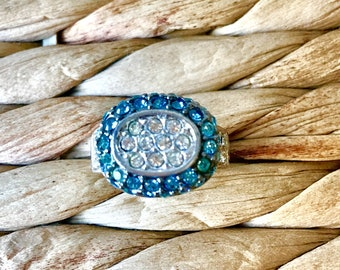 Sterling Silver with Clear and Turquoise studs