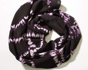 Black and Pink Hand Dyed Shibori Silk Scarf - 405
