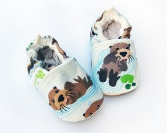 Organic Knits Vegan Sea Otter/ All Fabric Soft Sole Baby Shoes / Made to Order