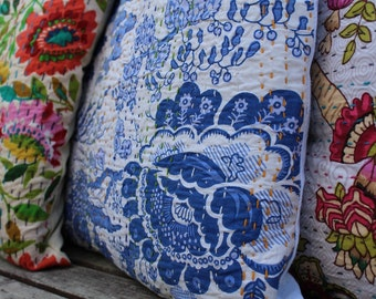 White and Indigo Kantha Cushion/Pillow Covers-16X16 inches