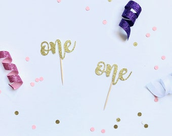 First Birthday Cupcake Toppers; One