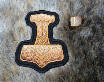 Dwarven Metallic Mjolnir Thor's Hammer Viking Norse Patch Biker Leather Embroidery Heathen Heathenry Asatru Vikings Dwarf Svartalfheim