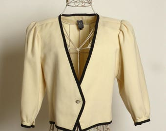 Circa 1980s Emanuel Ungaro Cream and Black Jacket