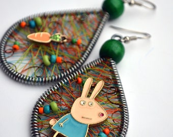 Easter Bunny Earrings/ Rabbit Earrings/ Rabbit lover gift/ Easter Earrings/ Easter Gift/ rabbit and carrot/ Pastel earrings Peruvian earring