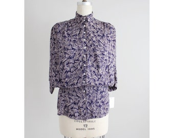 fitted waist blouse | vintage Nicole Miller | purple floral blouse