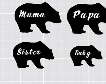 Family Bear Shirt Decals
