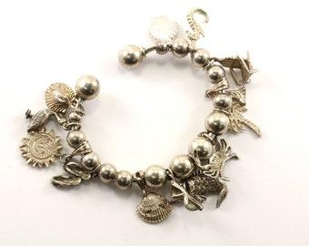 Vintage Ladies Beaded Summer Charms Bracelet 925 Sterling BR 840-E