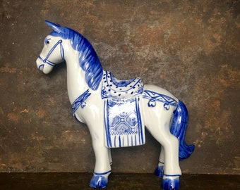 Vintage Blue and White Ceramic Horse