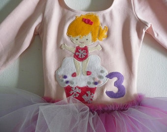GYMNASTICS, CUPCAKE BIRTHDAY Leotard Tutu - Cupcake Tutu- Gymnastics Party - Personalized - Sizes 18/24 months, 2/4 years, 4/6 years or 6/8