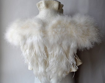 Ivory Feather Shrug Black Swan Costume Bolero Felt   Jacket Marabou Wool Cover Up Wedding Wing Romantic   Bridal Clothes