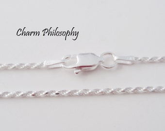 925 Sterling Silver Rope Chain - 1.25 mm - 16, 18, 20, 22, 24, 30, 36 inches - Finished Chain with Lobster Clasp