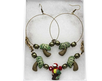 Tropical Parrot and Palm Tree Necklace and Earring Jewelry Set