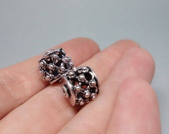 10pcs Antiqued Silver Hollow Beads, spacers