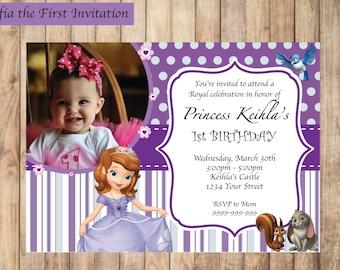Sofia photo invite etsy sofia the first invitation printable birthday party invite custom personalized digital photo card 4x6 stopboris Gallery