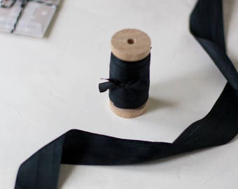 "Black Hand-Dyed Silk Ribbon (with Wooden Spool) - 5 yards - 1.25"" wide"