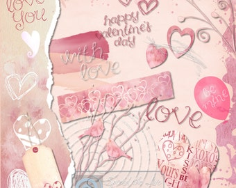 Valentine's Day, Scrapbook Elements, Journaling, Card Making,  Clipart, Paper Craft Supplies- Spread the Love'