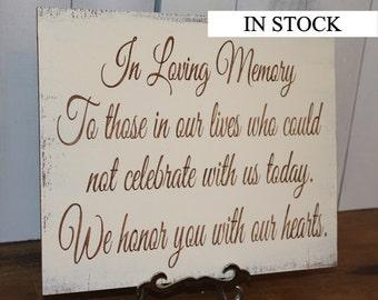 In Loving Memory/Memorial Sign/U Choose Colors/Great Shower Gift/Brown/Ivory