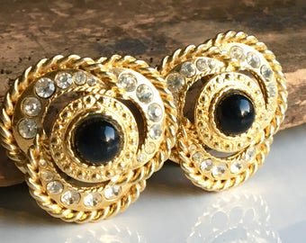 Rhinestone Earrings, Vintage Earrings, Clip On Earrings, Black Cab Earrings, Etsy, Etsy Jewelry