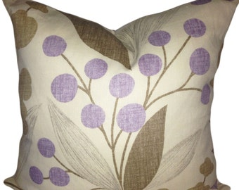 Kravet Purple and Tan Floral Capparis Decorative Pillow Cover - Echo Design - Throw Pillow - Accent Pillow - Solid Cream Back