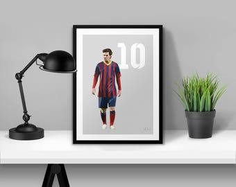 Lionel Messi Barcelona Illustrated Poster Print | A6 A5 A4 A3