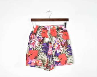 Vintage 80's Floral Printed High Waisted Cotton Shorts