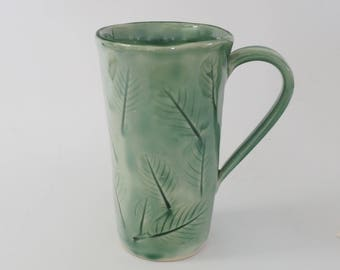 Handmade Coffee Mug, Nature Lover Gift, Leaf Texture Cup, Green Pottery Mug,  Coffee Cup, Tea Cup, Ceramic Mug, Green Mug,