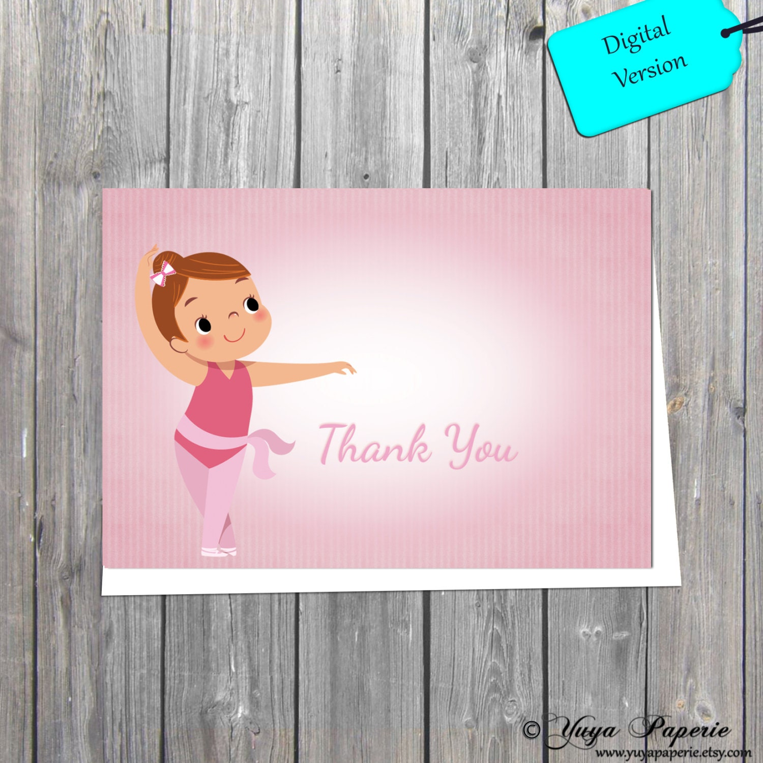 Ballet Thank You Card Shabby Chic Ballerina Thank You Cards Kids