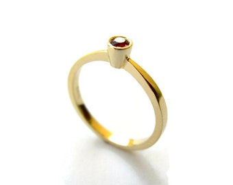 Minimalist Gemstone Ring, Delicate 14k Gold Ring with Red Sapphire, Bezel Ring, Red Gemstone Ring, Solid Gold Ring, for her