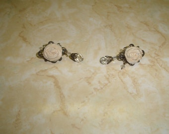 vintage clip on earrings white fabric rose flower dangles