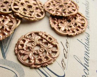 William Morris filigree medallion, 18mm (4 round flat filigree discs) center hole, rose gold antiqued brass, lace filigree, made in USA