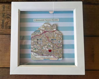 Personalised home address map box frame