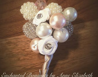 Alternative button hole beads and pearls blush pink and ivory