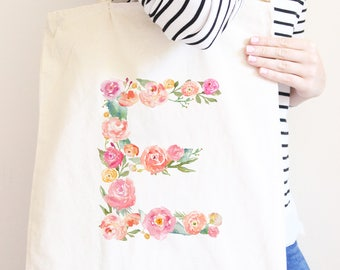 Personalized Tote Bag with Floral Initial Monogram