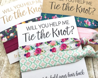 Will You Help Me Tie the Knot | Bridesmaid Proposal |  Party Favor Hair Tie Favor | Bride Tribe - MOH - To Have & To Hold | Flower Girl
