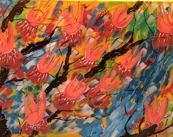 Abstract Painting (on canvas in acrylic paint) - close-up VIDEO of painting on FB (see notes)