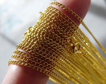 """16.5"""" Necklace Chain, Gold Plated Steel Chain, Curb Link Chain, 1.8mm Finished Gold Necklace Chain, Jewelry Supplies"""