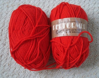 Red Acrylic Worsted Weight Yarn, 2 balls, Bright Red Vintage Columbia Minerva orlon and dacron yarn