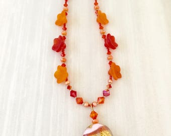 Tangerine Tango Beaded Necklace - Czech Glass Flowers - Boho Chic - Delicate Necklace - Swarovski Crystal - Gift for Women