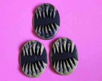 40x30mm Loose Unset Ashy Black Vampire Teeth Cameo Set