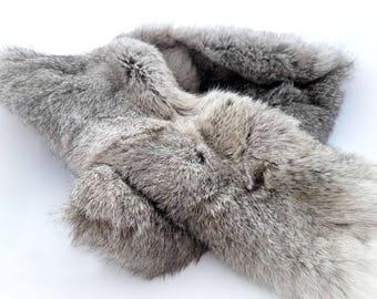 Gray rabbit fur scarf, real rabbit fur stole, gray fur shawl winter wrap