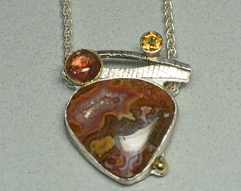 Agua Nueva Agate Pendant, Tourmaline, Citrine, Multi Stone Pendant with Druzy, Necklace with Earth tone  Gems, Gift for Her