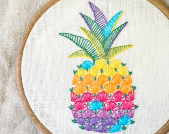 Hand embroidery, PDF Instant Download, Pineapple embroidery, Hawaii, modern hand embroidery patterns by NaiveNeedle