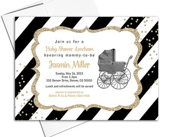 Gender Neutral baby shower invitation, black and gold baby shower invites with stripes, vintage baby carriage - PRINTED - WLP00736