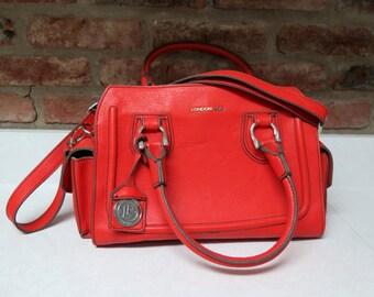 London Fog Vintage Purse 1990s Orange Bag Satchel Purse Fall Color Bag Shoulder Strap and Handles