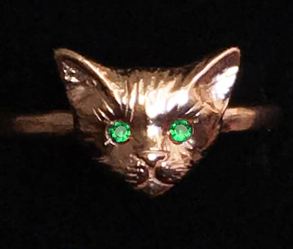 Rose Gold Kitty Cat Ring with Emerald Eyes