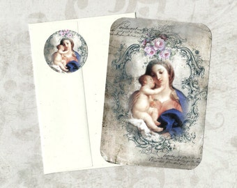 Note Cards, Religious Image, Madonna & Child, Holy Card, Vintage Style, Stickers