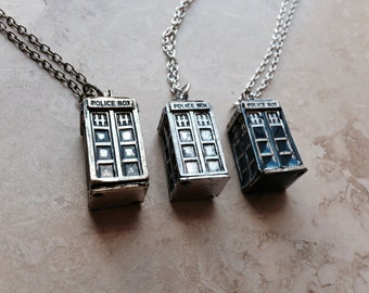Doctor Who TARDIS Necklace & Pendant in 3 Distinct Colors // Bronze, Blue or Silver