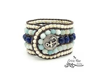 Nautical anchor gemstone leather wrap cuff bracelet, lapis gemstone, aquamarine amazonite gemstone, turquoise howlite gemstone, boho beach