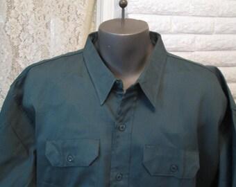 60s vintage Shirt Workwear uniform shirt Green work shirt Selvedge gusset Deadstock work shirt Sanforized Dee Cee shirt XL